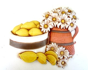 Daisies & Lemons Syroco Wall Plaque 1980 Home Kitchen Decor