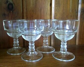 Art Deco Cordial Glass Set // Clear Ribbed Stem Glasses Set of 4 / Antique Vintage Barware