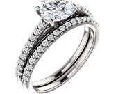 Forever One  Moissanite 14K White Gold wedding Ring Set -ST233949 (Other metals & stone options available)