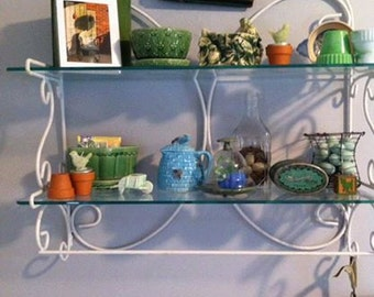 Vintage White Iron Wall Shelf Custom Glass