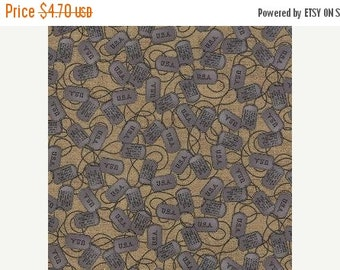 SALE Because Of The Brave, Dog Tags, Burlap, Moda Fabric, 1/2 Yard