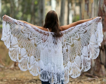 Wedding Shawl Wrap White Shawl white Wraps Shawl Crocheted Lace Shawl lace knit shawl knit shawl scarf Hand knit Clothing