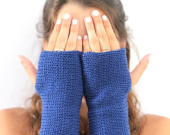 Knitted gloves mittens  Blue Arm Warmers, Knitted Arm Warmers, Knits for Women