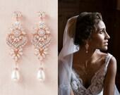 Rose Gold Bridal Earrings, Crystal Wedding earrings, Bridal Jewelry, Long Crystal Wedding Earrings, Swarovski, London Bridal Earrings