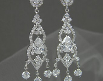 Crystal Bridal earrings  Wedding jewelry Crystal Wedding earrings Bridal jewelry, Amelia Drop Earrings