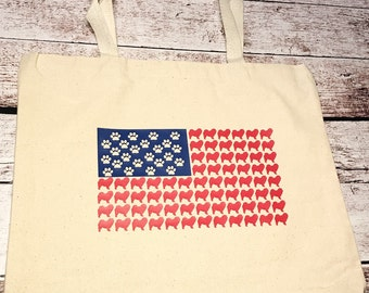 Chow Chow American Flag market tote  Chinese Chow