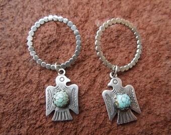 Sterling Silver Thunderbird Hoops Handmade Silver Lightweight Bird Hoop Earrings - Number 8 Turquoise