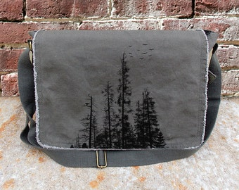 Pine Tree Forest Messenger Bag - Screen Printed Cotton Canvas Messenger - Available in Brown or Khaki Green