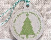 Christmas Gift Tags, Holiday Gift Tags, Kraft Tags, Set of 8 tags, Handmade Gift Tags, Christmas Tree Green