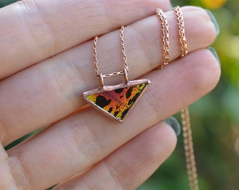 Sunset Triangle Necklace - Rose Gold & Copper Patina