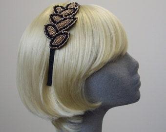 Black-Gold Beaded Leaf Headband - Black Beaded Leaf Motif Gatsby Headband