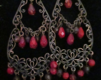 Vintage Earrings Costume Jewelry Pierced Earrings Antiqued Coppertone Glass  Beaded NOS YourFineHouse SHIPSWORLDWIDE
