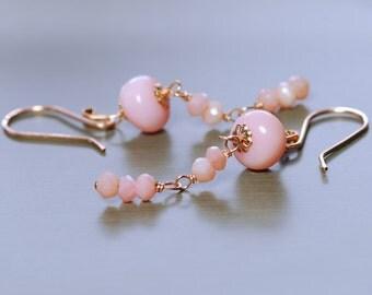 Opal Dangle Earrings by Agusha. Peruvian Pink Opal Earrings. Pink Gemstone Earrings