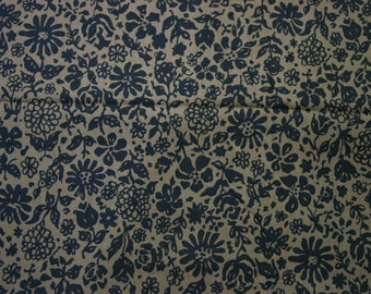 "Vintage Fabric, Beautiful Cotton Print, Chocolate Brown with Black 4 Yards, 36"" Wide"