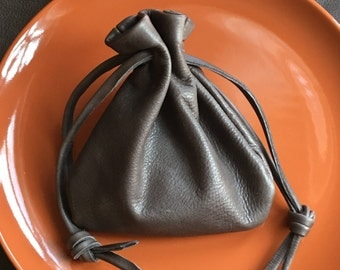 Leather Drawstring Pouch Bag - Sack Bag - Tobacco Pouch - Grey Leather -