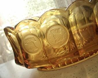 "Vintage 1960's Fostoria Coin glass bowl, 9"", Amber glass bowl, Mid Century Modern decor, Oval glass bowl, Retro decor, liberty bell"