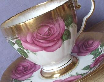 Vintage 1950's Mid Century Teacup and Saucer, Royal Grafton Large pink rose tea cup, Gold tea cup, English tea cup, Bone china teacup
