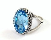 Oval Aquamarine Ring - Light Blue Swarovski Crystal Cocktail Ring Adjustable Band Size