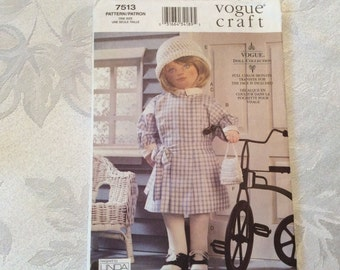 Vogue Sewing Pattern 7513-Out of Print Pattern From 2002 to Make an 18 Inch Doll, Dress, Hat, Bloomers, Purse, Socks Circa 1930's Style