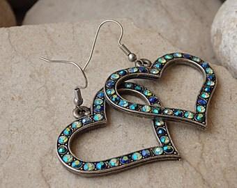 Heart Shaped Earrings, Heart-shaped Swarovski Earrings, Silver Heart Earrings, Romantic Earrings Gift, Romantic Jewelry Gift, Holidays Gift