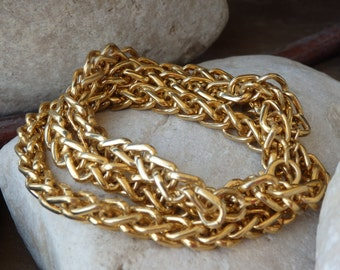 Gold Chain Necklace. Chunky Gold Necklace. 24K Yellow Gold Plated Chain Necklace. Classic Necklace or Bracelet for Women Wide Chain Necklace