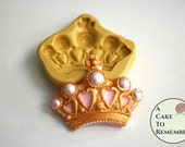 Silicone crown mold with pearls for cake decorating and princess cupcakes. Girl's princess birthday ideas, polymer clay crown mold M5047