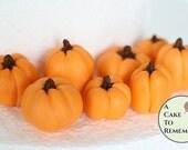 10 Gumpaste pumpkins for cake decorating, group of ten fall wedding cake pumpkins