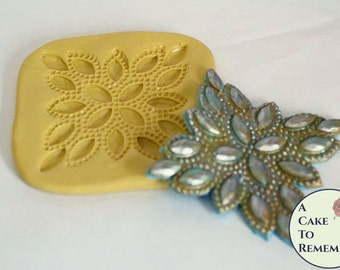 Diamond rhinestone applique silicone mold, beaded mold for cake decorating, polymer clay or resin mold, fondant medallion mold M5094