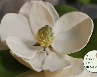 Gumpaste Magnolia for Cake Decorating or elegant wedding cake toppers. Sugar flowers, edible flowers for cakes, wedding cake flowers