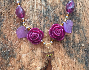 Purple rose and Cat necklace