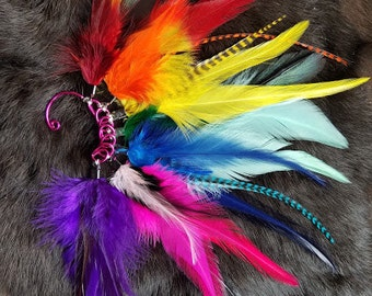 Rainbow Feather Ear Cuff - Left Ear
