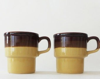 Vintage Retro Brown and Mustard Yellow Mugs