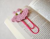 Crochet dress bookmark office gift ideas crochet heart small gift ideas small birthday gift ideas teacher gift ideas paper clip pink gift