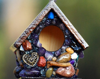 mosaic birdhouse Miniature Whimsical garden with Amethyst stones and bronze Love charms unique gift large keychain birdhouse mosaic art love