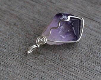Amethyst Sterling Silver Wire Wrapped Pendant #5227