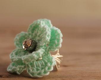 Crochet Ring - Teal flower crocheted ring - Delicate Flower Ring - Jewellry crocheted