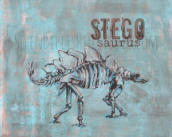 Stegosaurus on Canvas  Dinosour Art Print - 1 of 2
