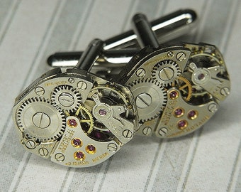 STEAMPUNK Cufflinks Cuff Links - Torch SOLDERED - Vintage Silver Watch Movements w Bright Ruby Jewels - Birthday Wedding Anniversary Gift