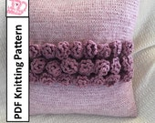 "PDF KNITTING PATTERN, knit pillow cover pattern, rose knitting pattern, 16""x16"", cushion cover knitting pattern"
