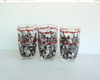 ON SALE Vintage Shot Glass - Mid Century Shot Glass - Whiskey Shot Glass - Red Black Shot Glass - Gold Rim