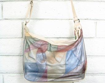 80's PATCHWORK VINYL BAG vintage icy pastel slouchy faux leather vegan purse hobo bag shoulder bag handbag iridescent