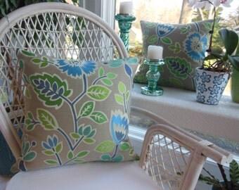 Bright Flower Pillow - Tapestry Pillow - Large Green Pillow - Blue Turquoise Pillow -  Teal Pillow - Gray Grey Pillow - 20 x 20 Inch Pillow