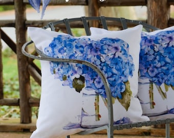 Outdoor Pillow Cover with Pillow Insert, Outdoor Pillow cover,  Cape Cod Hydrangeas