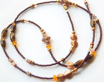 Chocolate, Honey, Copper Waist Beads, Tiger's Eye Belly Waistbeads, Gold-Brown Belly Chain, Belly Beads