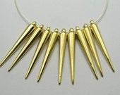 10 Gold Tone Metallic Acrylic Spike Charms - C2295