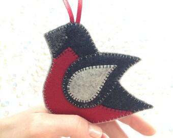 FELT BIRD ornament - BULLFINCH - handcrafted from 100% wool felt - Christmas and Holiday decor