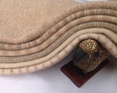 Wool Fabric for Rug Hooking and Applique, 6) pcs, Cream and Brown Sugar, Select-a-Size, J984
