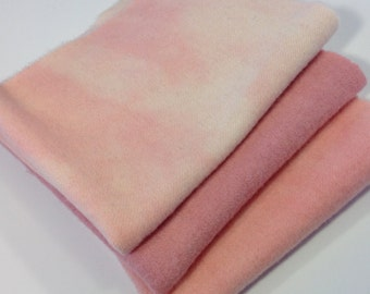 Hand Dyed Pinks, 3) fat 1/8ths, Wool fabric for Rug Hooking and Applique, W178
