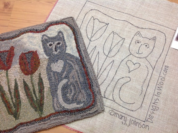 "Rug Hooking KIT, Tulip the Cat, 14"" x 14"", DIY Rug Hooking Kit, K103, Primitive Cat Design"
