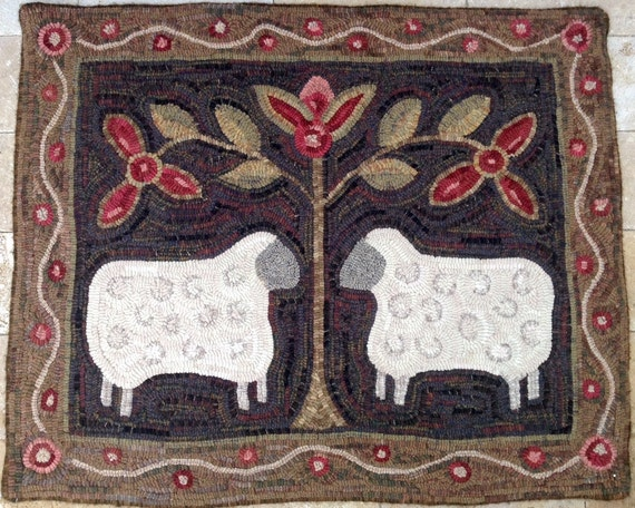 "Rug Hooking PATTERN, Two Sheep, 28"" x 36"", J436, Folk Art Sheep, DIY Primitive Sheep Design"